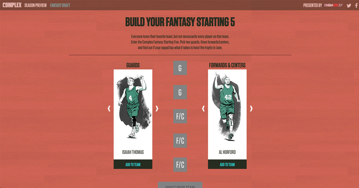 Build your NBA Fantasy team and see how it stacks up